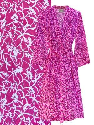 UITVERKOCHT kimono katoen printed- flower branch- magenta