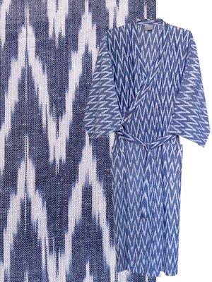 kimono man ikat denim blue