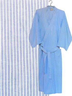 kimono man katoen streepje blauw