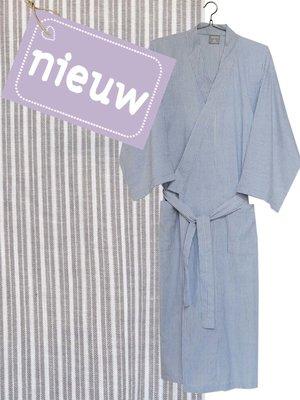 kimono man katoen streepje grijs