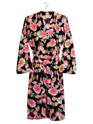UITVERKOCHT kimono katoen printed- flower mix- pink/green on black