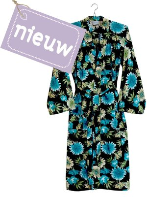 kimono katoen printed- flower mix- blue/ocre on black