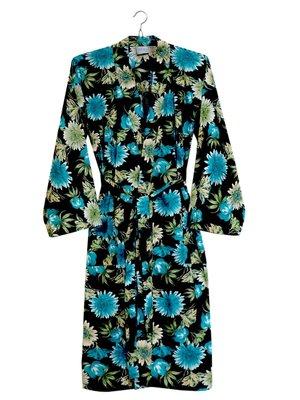 UITVERKOCHT-kimono katoen printed- flower mix- blue/ocre on black