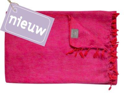 deken wolmix/katoen gemêleerd roze/rood