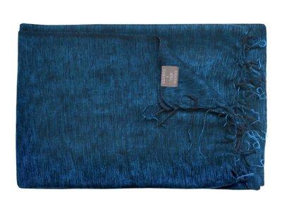 deken wolmix/katoen gemêleerd zwart/blauw