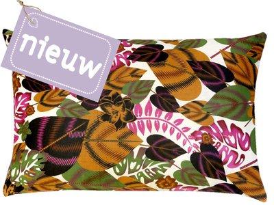 sierkussenhoes printed katoen/fluweel -rainforest/magenta