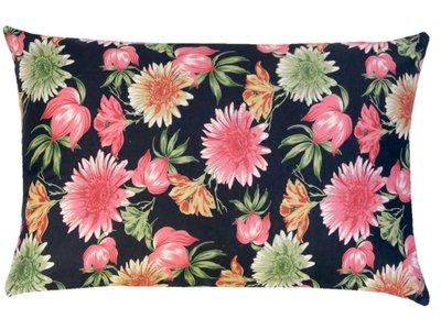 sierkussenhoes print katoen/fluweel -flowers pink/green on black