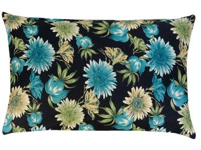 sierkussenhoes print katoen/fluweel -flowers blue/ocre on black