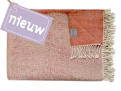 deken reversible wol -blockprinted old pink/cognac
