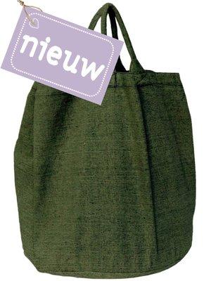 UITVERKOCHT opbergzak/ tas rond zware katoen-groen mêlee