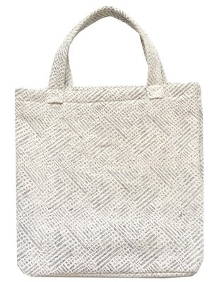 tas shopper tote bag klein katoen print grijs/wit