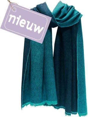 UITVERKOCHT- sjaal cashmere 2-tone petrol