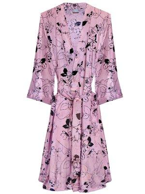 UITVERKOCHT-kimono viscose printed- black flower on old pink