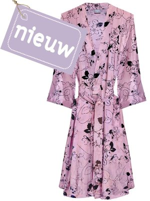 kimono viscose printed- black flower on old pink