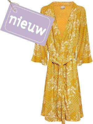 kimono viscose- mixed print white on ocre