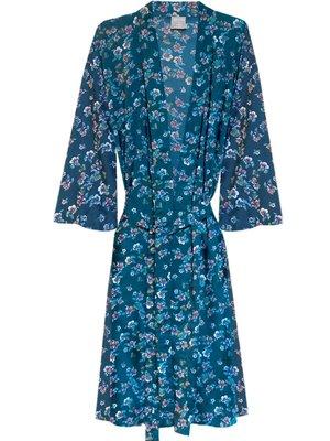 UITVERKOCHT-kimono viscose printed- violets on petrol green