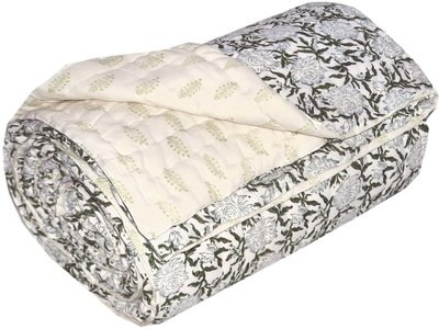 deken quilt tweepersoons blockprint -wit/off white