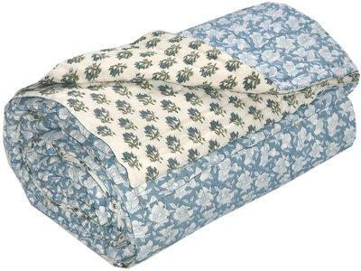 deken quilt tweepersoons blockprint -staalblauw/wit