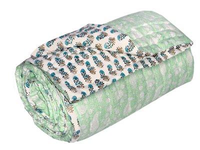 deken quilt eenpersoons blockprint -pistache/off white