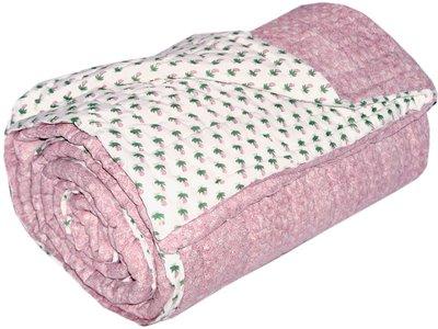 deken quilt tweepersoons blockprint -roze/wit