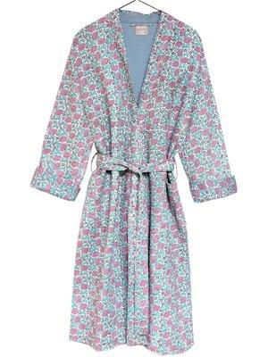 kimono quilted katoen -pink peony on white