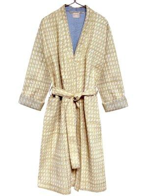 kimono quilted katoen -white paisley on pastel ocre