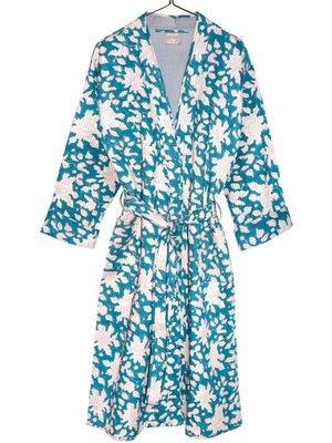 kimono quilted katoen -white flower on petrol green
