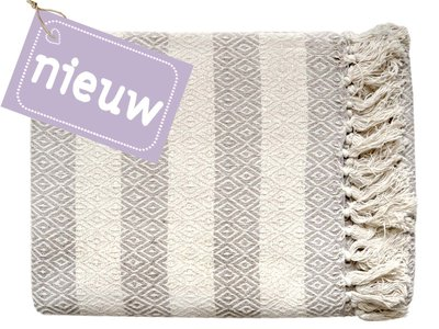 plaid grafisch jaquard- off white/taupe diamond stripe