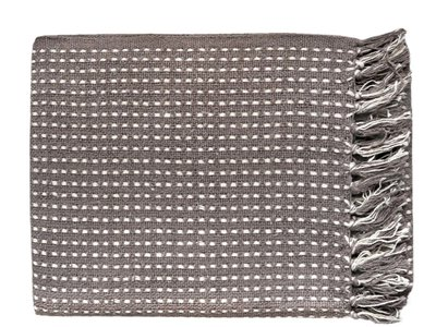 plaid grafisch jaquard- taupe/off white dot