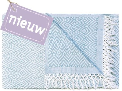sprei eenpersoons grafisch jaquard white/sea blue