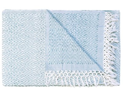 sprei/deken eenpersoons grafisch jaquard white/sea blue