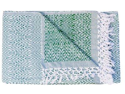 sprei/deken eenpersoons grafisch jaquard white/green