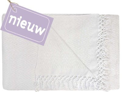 sprei eenpersoons grafisch jaquard white/offwhite