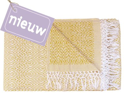 sprei eenpersoons grafisch jaquard white/warm yellow