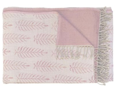 deken reversible wol -blockprinted offwhite/soft pink