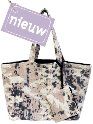 tas shopper XL recycled met etui off-white/pink