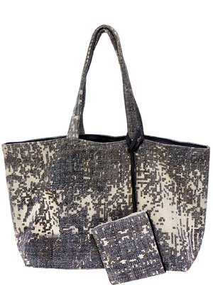 tas shopper XL recycled met etui stonewashed grijs