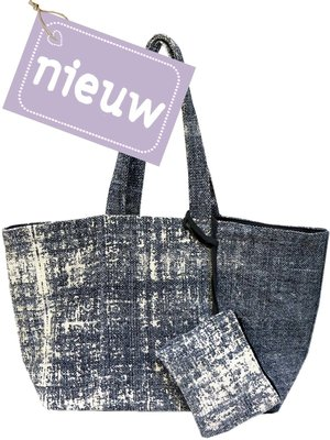 tas shopper XL recycled met etui stonewashed denim