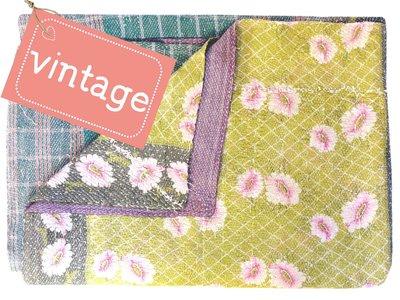 VERKOCHT deken quilt vintage katoen -heavy met patchwork