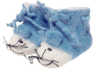 babyslofje vilt 'Muis' blauw
