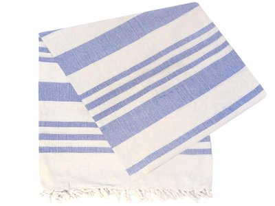 grand foulard katoen -light blue/white stripe