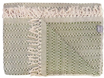 sprei tweepersoons grafisch jaquard off white/moss