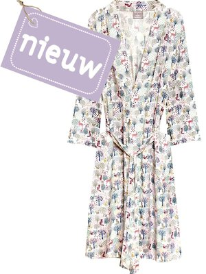 kimono viscose- forest print pastels on white