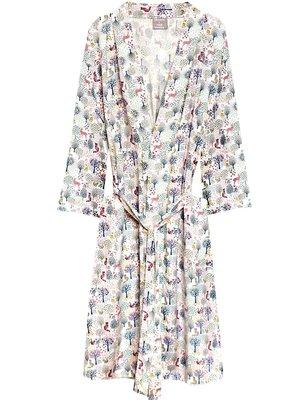 kimono viscose- forest print pastels on white