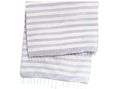 hamam/stranddoek heavy met franje -grijs/wit