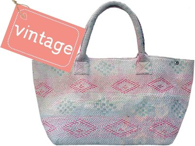 VERKOCHT tas shopper XL vintage stof Boho-style pastel diamond mix 3040-4