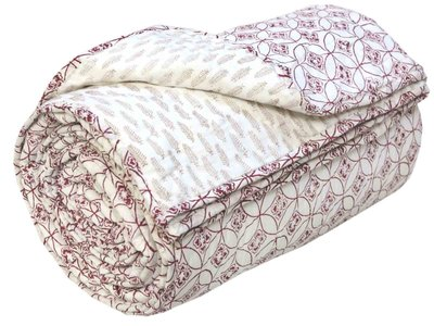 deken quilt tweepersoons reversible blockprint -cherry op wit/beige op wit