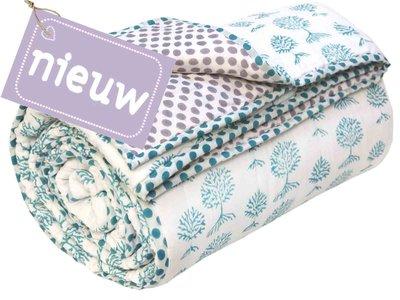 deken quilt tweepersoons reversible blockprint -petrol op wit/lavendel op wit