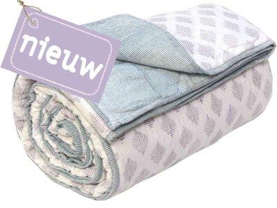 deken quilt tweepersoons reversible blockprint -warm grijs op wit/petrol op wit