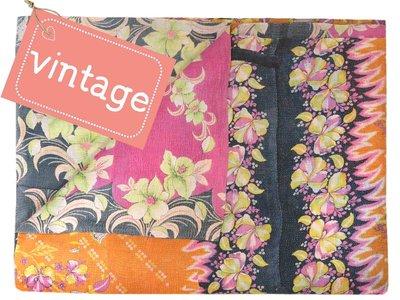 deken kantha quilt vintage katoen -roze/oranje retroflower